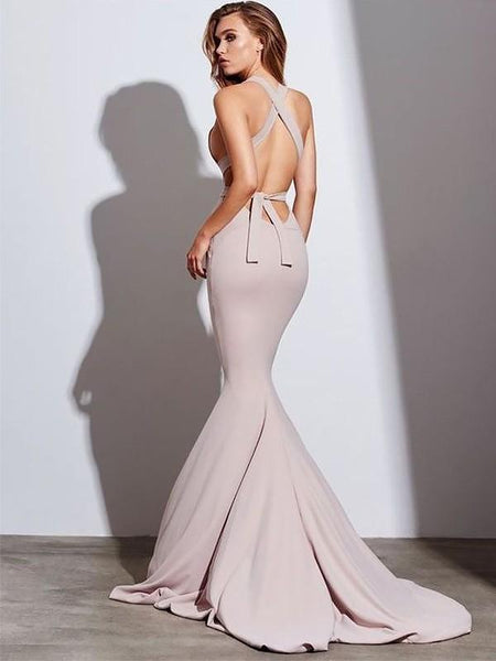 Sexy Mermaid Simple Halter Long Evening Prom Dresses, Evening Party Prom Dresses, 12344