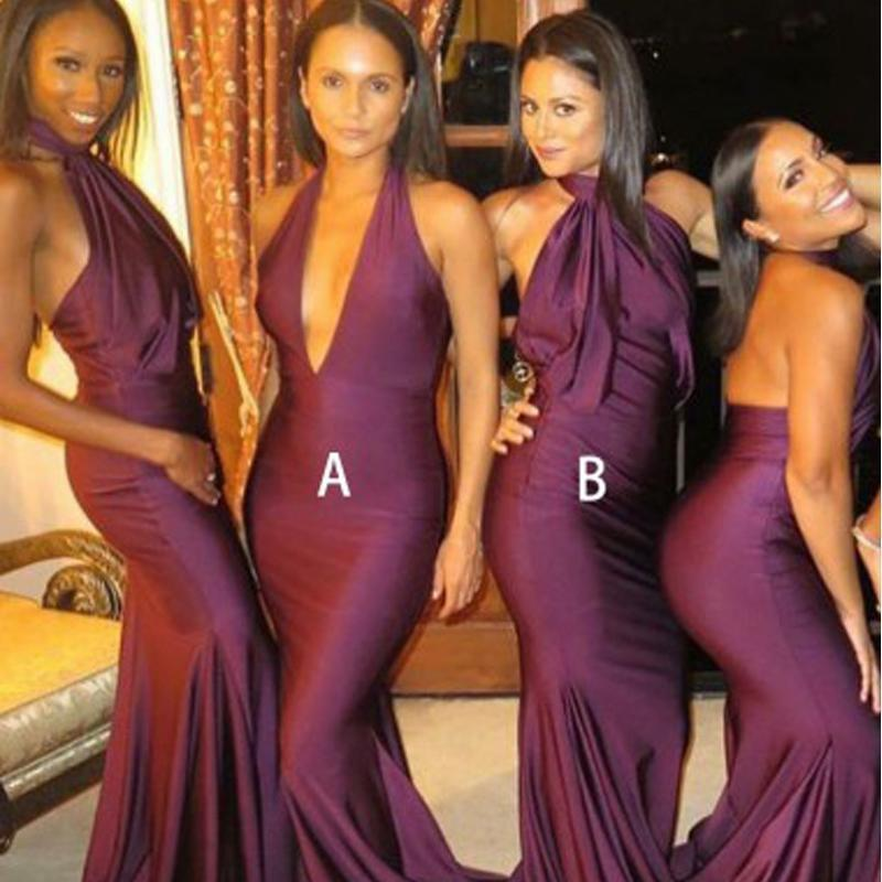 Sexy Mismatched Burgundy Mermaid Long Bridesmaid Dresses Online, WG299