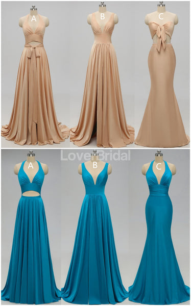 Sexy Mismatched Side Slit Long Gold Bridesmaid Dresses, WG229