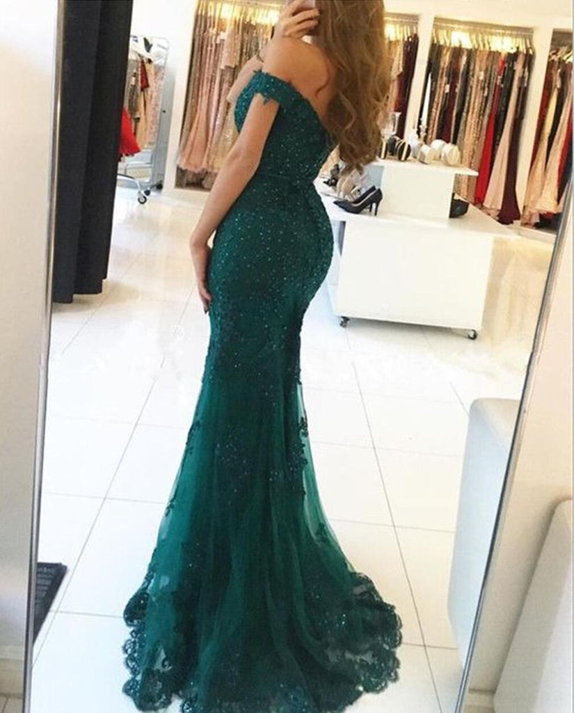 Sexy Off Shoulder Emerald Green Lace Beaded Mermaid Long Evening Prom Dresses, Popular Cheap Long Custom Party Prom Dresses, 17328