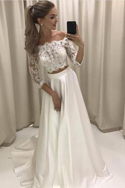 Sexy Off Shoulder Long Sleeve Two Pieces White Long Evening Prom Dresses, 17467