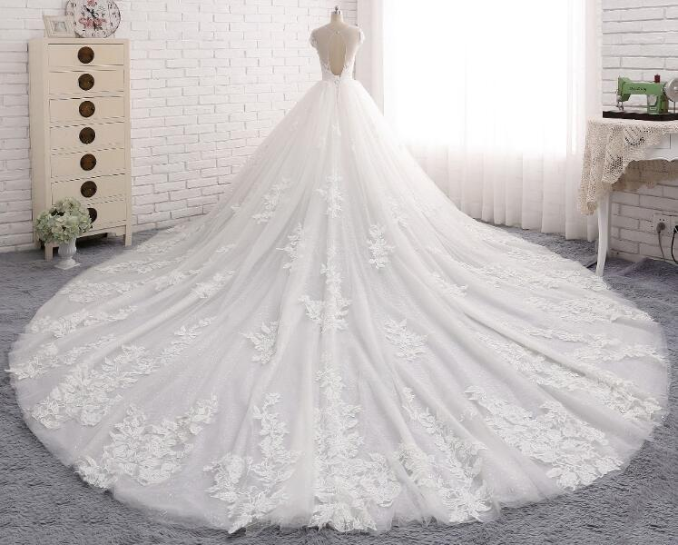 Sexy Open Back Cap Sleeve Long Tail Lace Wedding Bridal Dresses, Custom Made Wedding Dresses, Affordable Wedding Bridal Gowns, WD240