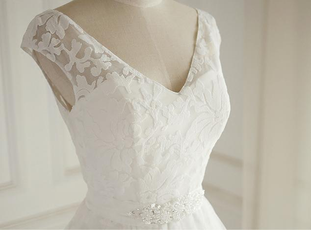 Sexy Open Back Cap Sleeve V Neckline Lace A line Wedding Bridal Dresses, Custom Made Wedding Dresses, Affordable Wedding Bridal Gowns, WD261