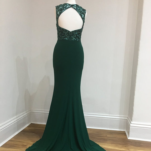 Sexy Open Back Emerald Green Side Slit Mermaid Sequin Lace Long Evening Prom Dresses, Popular Cheap Long Custom Party Prom Dresses, 17315