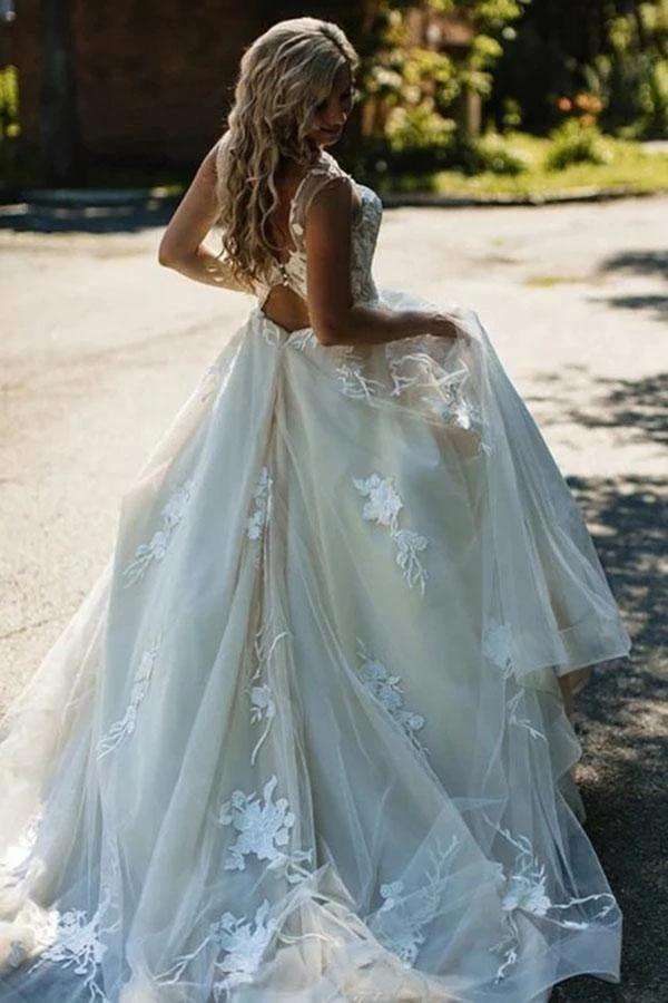 Sexy Open Back Lace A-line Wedding Dresses Online, Cheap Unique Bridal Dresses, WD587
