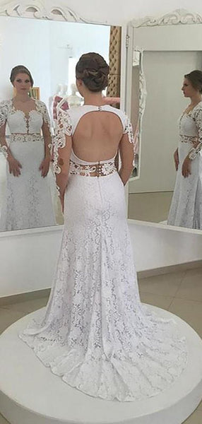 Sexy Open Back Long Sleeves Lace Mermaid Wedding Dresses Online, WD419