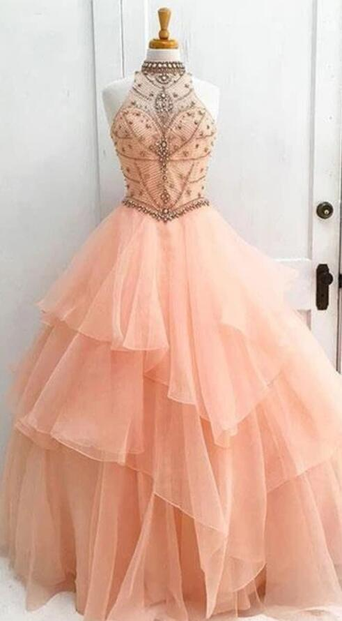 Sexy Open Back Orange Halter Delicate Beading Rhinestone Ball Gown Organza Long Evening Prom Dresses, 17347