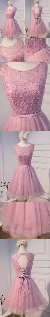 Sexy Open Back Pink Beaded Cute Homecoming Prom Dresses, Affordable Short Party Prom Dresses, Perfect Homecoming Dresses, CM303