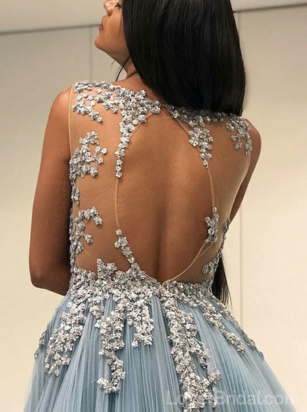 Sexy Open Back See Through Open Back A-line Long Evening Prom Dresses, Cheap Custom Sweet 16 Dresses, 18555