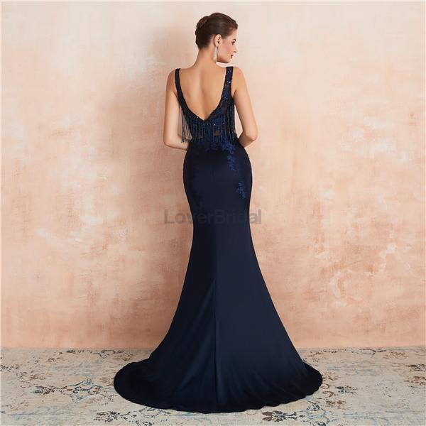 Sexy Scoop Backless Navy Beaded Long Evening Prom Dresses, Evening Party Prom Dresses, 12131