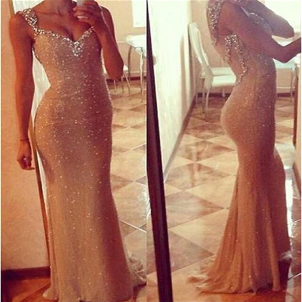 Sexy See Through Long Mermaid Sequin Prom Dresses, PD0109