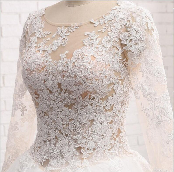 Sexy See Through Long Sleeve Aline Lace Wedding Bridal Dresses, Custom Made Wedding Dresses, Affordable Wedding Bridal Gowns, WD239