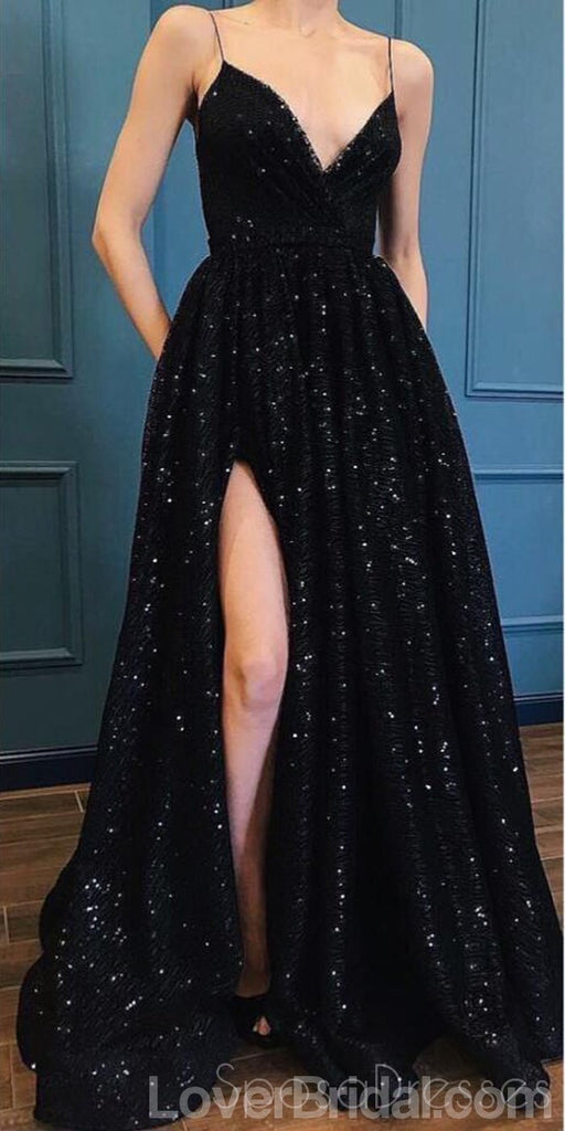 Sexy Side Slit Black Lace Long Evening Prom Dresses, Cheap Custom Party Prom Dresses, 18572