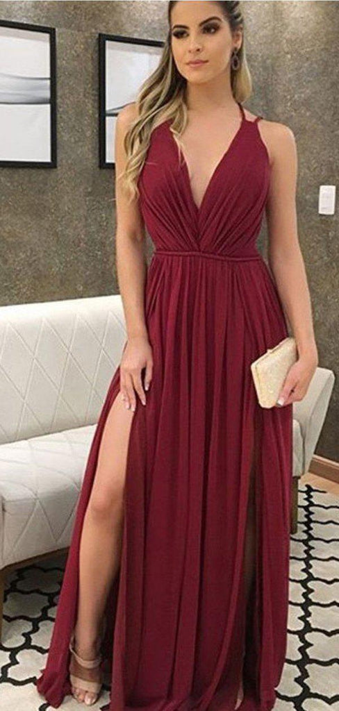 Sexy Side Slit Dark Red Chiffon Cheap Bridesmaid Dresses Online, WG767