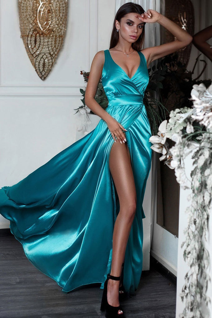 Sexy Side Slit V Neck Mermaid Long Evening Prom Dresses, Cheap Sweet 16 Dresses, 18322