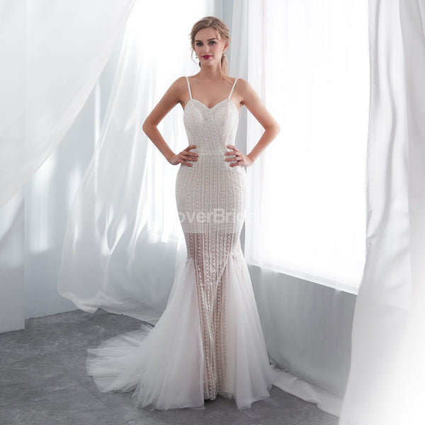 Sexy Spaghetti Straps Lace Mermaid Wedding Dresses Online, Unique Bridal Dresses, WD575