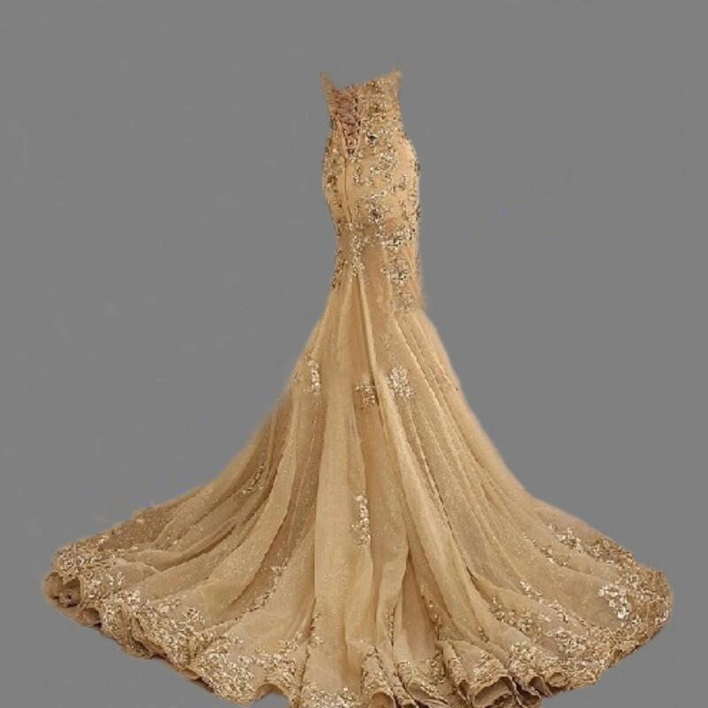 Sexy Sweetheart Gold Lace Beaded Mermaid Long Evening Prom Dresses, Popular Cheap Long 2018 Party Prom Dresses, 17238