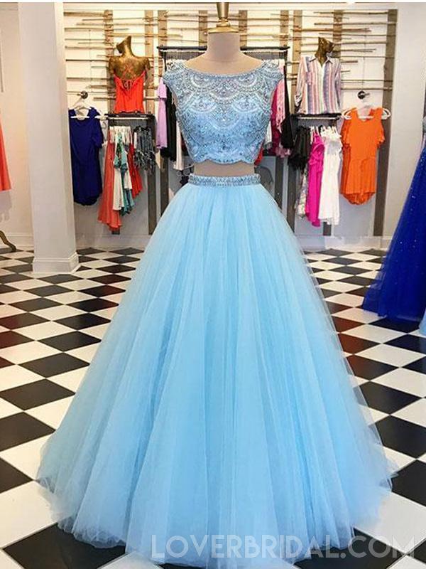 Sexy Two Pieces Cowl Heavily Beaded Blue Long Evening Prom Dresses, Cheap Sweet 16 Dresses, 18443
