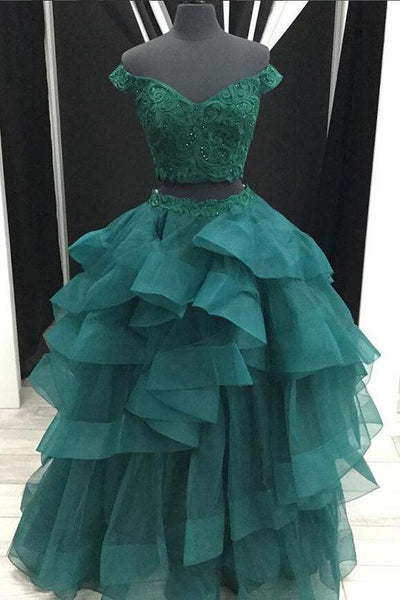 Sexy Two Pieces Emerald Green Off Shoulder V Neck Ball Gown Long Custom Evening Prom Dresses, 17414