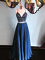 Sexy Two Pieces Navy Rhinestone Beaded Long Custom Evening Prom Dresses, 17439