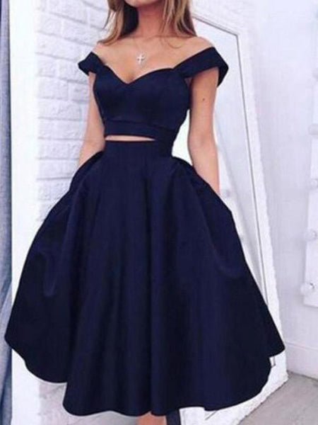 Sexy Two Pieces Navy Short Cheap Homecoming Dresses Under 100, CM393