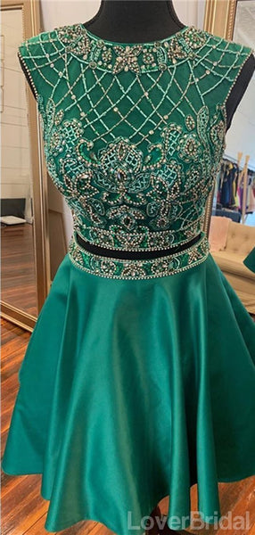 Sexy Two Pieces Open Back Cap Sleeves Short Homecoming Dresses Online, Cheap Short Prom Dresses, CM835