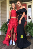 Sexy Two Pieces Red High Low Simple Long Evening Prom Dresses, 17473