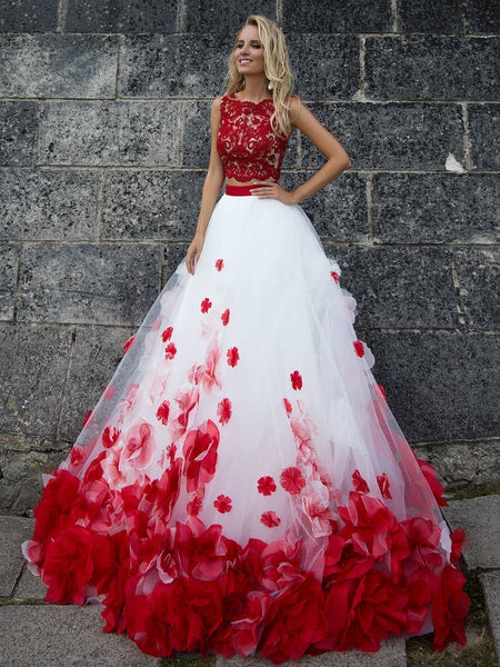 Sexy Two Pieces Red Lace White Skirt A line Long Custom Evening Prom Dresses, 17411