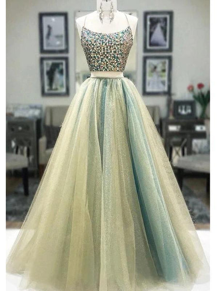Sexy Two Pieces Rhinestone Beaded Green Long Evening Prom Dresses, Evening Party Prom Dresses, 12316