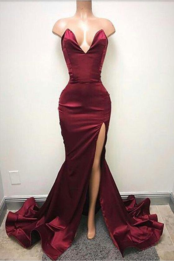 Sexy V Neck Burgundy Side Slit Mermaid Long Evening Prom Dresses, 17504