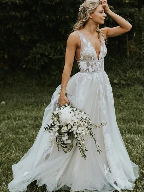 Sexy V-Neck Lace A-line Cheap Wedding Dresses Online, Cheap Bridal Dresses, WD616
