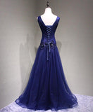 Sexy V Neck Navy Blue Beaded A-line Long Evening Prom Dresses, 17622