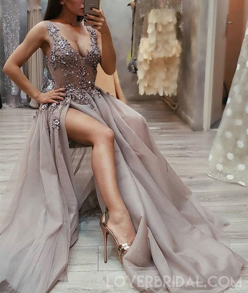 Sexy V Neck See Through Grey Side Slit Lace Long Evening Prom Dresses, Cheap Sweet 16 Dresses, 18440