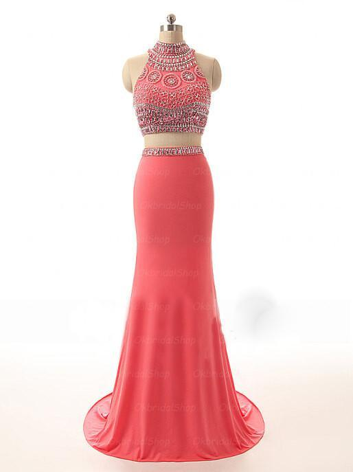 Sexy Watermelon Two Pieces Hight Neck Jersey Junior Affordable Evening Party Long Prom Dresses, WG232