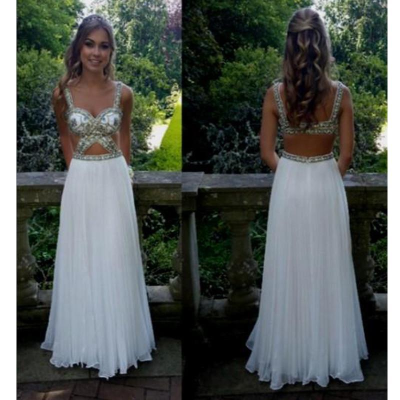 Sexy White Junior Open Back Unique Gorgeous Long Prom Dress, WG532