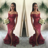 Shinning Off Shoulder Sequin Mermaid Side Slit Cheap Long Prom Dresses, WG297