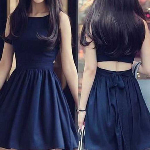 Short black two pieces unique simple tight popular teens homecoming prom dress,BD0021
