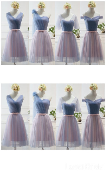 Short Knee Length Mismatched Simple Cheap Bridesmaid Dresses Online, WG519