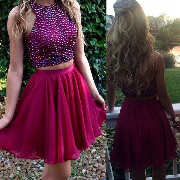 Short red two pieces beaded halter lovely freshman charming homecoming dress,BD0042