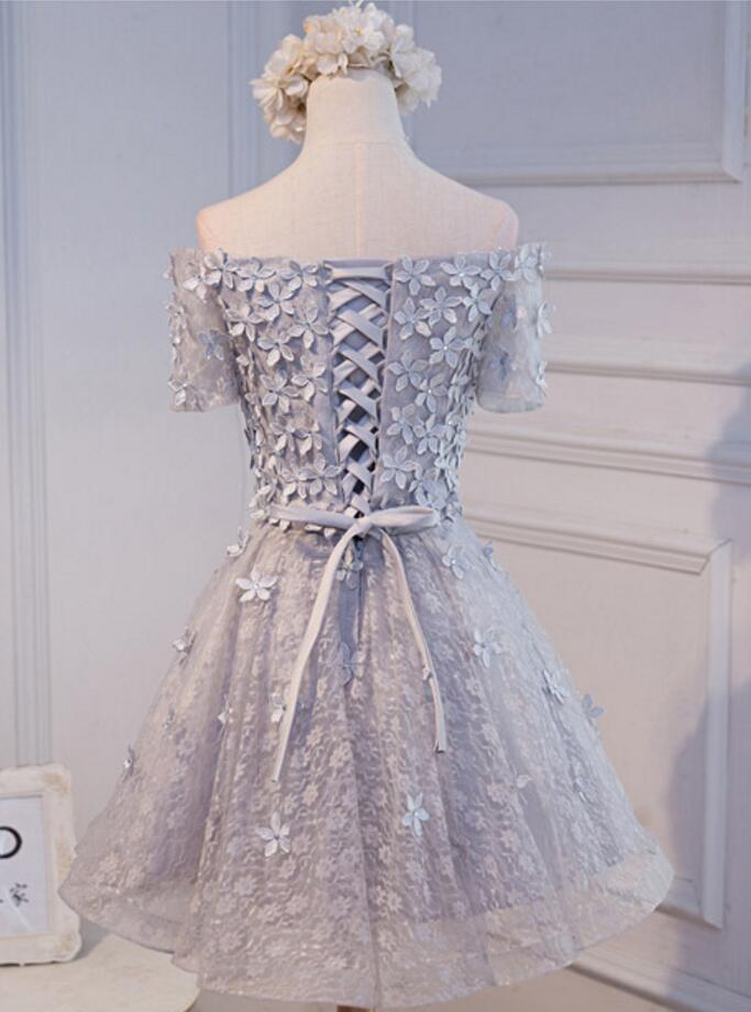 Short Sleeve Off Shoulder Gray Lace Homecoming Prom Dresses, Affordable Short Party Prom Dresses, Perfect Homecoming Dresses, CM279