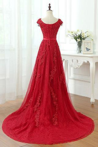 Short Sleeve Scoop Neckline Red Lace Beaded Long Evening Prom Dresses, Popular Cheap Long 2018 Party Prom Dresses, 17308