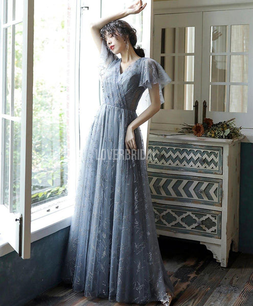 Short Sleeves Grey Lace Long Evening Prom Dresses, Evening Party Prom Dresses, 12218