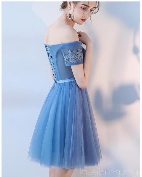 Short Sleeves Off Shoulder Blue Lace Cheap Homecoming Dresses Online, Cheap Short Prom Dresses, CM781