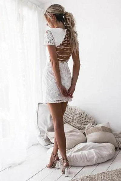 Short Sleeves Off White Lace Short Homecoming Dresses Online, Cheap Short Prom Dresses, CM841