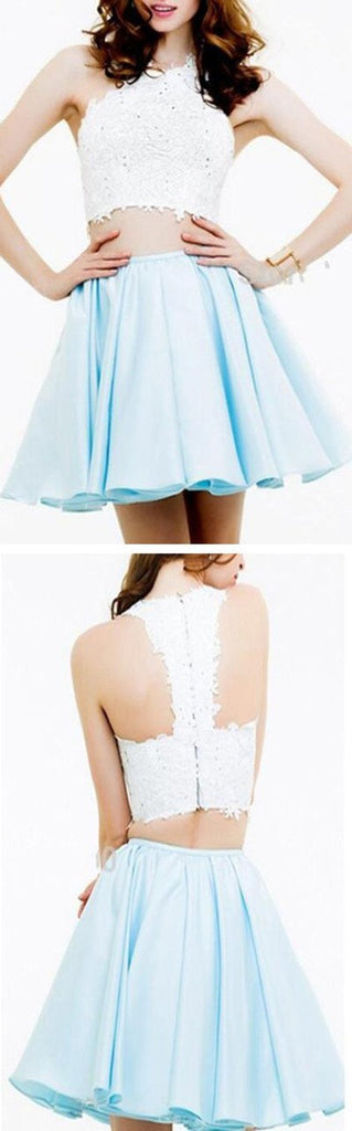Short two pieces lace simple graduation freshman homecoming prom dress,BD0078