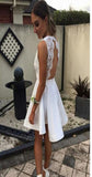Short white lace simple open backs sexy unique style cocktail homecoming prom gown dress,BD00176