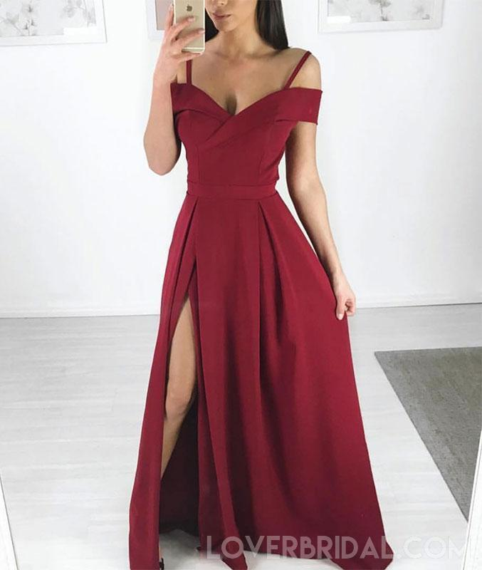 Side Slit Spaghetti Straps Simple Long Evening Prom Dresses, Cheap Custom Sweet 16 Dresses, 18451