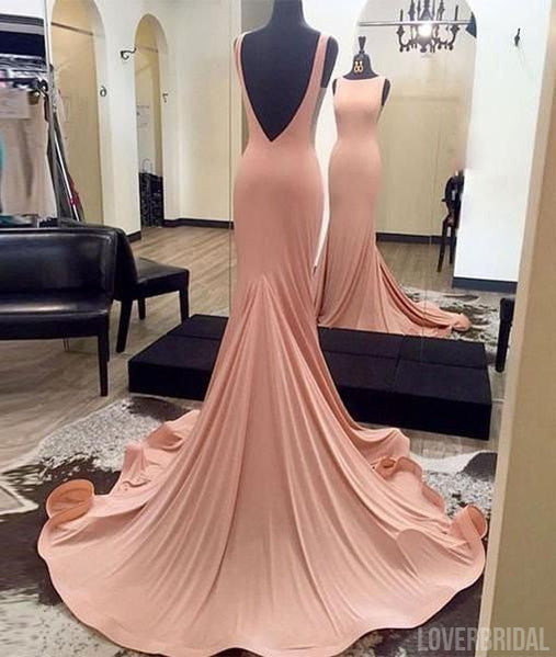 Simple Affordable Mermaid Sexy Backless Cheap Long Prom Dresses, WG361