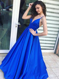 Simple Backless V Neck Spaghetti Straps A-line Long Evening Prom Dresses, 17594