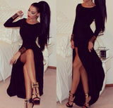 Simple Black Side Slit Long Sleeves Sexy Cheap Long Prom Dress, WG510